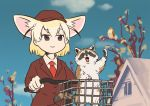 animal_ears bicycle bird blonde_hair blue_sky blunt_ends brown_eyes clouds coat fennec_(kemono_friends) ground_vehicle hand_up hat house kemono_friends necktie open_mouth owl raccoon short_hair sky smile taoi_(taoi58829762) tree