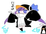 1girl animal_hood bird blue_eyes blush_stickers chibi commentary_request eyebrows_visible_through_hair fate/extra fate/extra_ccc fate_(series) hair_between_eyes hat hat_ribbon hood long_hair long_sleeves looking_at_viewer meltryllis outstretched_arms penguin purple_hair ribbon sako_(bosscoffee) sleeves_past_wrists solo spread_arms standing translated white_background wide_sleeves