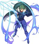 1boy alm_(fire_emblem) armor armored_boots aura boots cape falchion_(fire_emblem) fire_emblem fire_emblem_echoes:_shadows_of_valentia fire_emblem_gaiden fire_emblem_heroes full_body fur_trim gloves green_eyes green_hair headband hidari_(left_side) highres male_focus open_mouth solo sword teeth transparent_background weapon