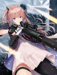 1girl akabane_hibame ar-15 assault_rifle blue_eyes closed_mouth commentary_request eyebrows_visible_through_hair fingerless_gloves girls_frontline gloves gun hair_ribbon highres holding holding_gun holding_weapon jacket magazine_(weapon) multicolored_hair one_side_up pink_hair ribbon rifle scope side_ponytail single_thighhigh solo st_ar-15_(girls_frontline) thigh-highs weapon