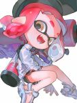 1girl :d aspara bangs black_headwear black_shorts blunt_bangs blush brown_eyes commentary domino_mask dress_shirt ear_blush fangs gym_shorts hat highres holding holding_weapon ink_tank_(splatoon) inkling invisible_chair light_blush long_sleeves looking_at_viewer mask necktie open_mouth pointy_ears redhead sandals shirt short_hair shorts simple_background sitting smile solo splat_roller_(splatoon) splatoon_(series) splatoon_2 striped striped_neckwear tentacle_hair weapon white_background white_footwear white_shirt