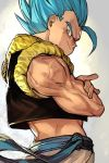 1boy blue_eyes blue_hair clothes_lift crossed_arms dragon_ball dragon_ball_super_broly fingernails frown gogeta gradient gradient_background grey_background grin hankuri looking_away looking_back male_focus midriff muscle pants profile simple_background smile spiky_hair super_saiyan_blue upper_body veins waistcoat white_background white_pants wind wind_lift