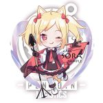 1girl ;q \m/ ahoge animal_ear_fluff animal_ears arknights bangs black_gloves blonde_hair blush boots bow brown_jacket cake_(isiofb) character_name chibi closed_mouth cross-laced_footwear eyebrows_visible_through_hair full_body gloves hair_bow holding holding_spear holding_weapon jacket lace-up_boots one_eye_closed parted_bangs pleated_skirt polearm red_bow red_eyes red_neckwear red_skirt sample shirt short_sleeves skirt sleeveless sleeveless_jacket smile solo sora_(arknights) spear standing standing_on_one_leg tail thigh-highs tongue tongue_out twintails v-shaped_eyebrows weapon white_footwear white_legwear white_shirt wide_sleeves