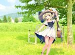 1girl bag bench black_bow blonde_hair blue_eyes bow breasts clouds cloudy_sky colorado_(kantai_collection) commentary_request day dress field grass hair_ribbon handbag hat headshop house kantai_collection large_breasts mountainous_horizon open_mouth photo_background ribbon shoes short_hair side_braids sky solo sun_hat third-party_edit torpedo tree turret white_dress white_ss_yu yukikaze_(kantai_collection)