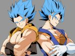 2boys back-to-back bangs bare_arms blue_eyes blue_hair crossed_arms dougi dragon_ball dragon_ball_z earrings gloves gogeta grey_background head_tilt jewelry kanekiyo_miwa looking_away male_focus multiple_boys muscle nipples parted_lips pectorals potara_earrings profile shaded_face simple_background smile spiky_hair super_saiyan_blue upper_body vegetto waistcoat white_gloves wristband