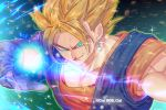 1boy aqua_background aqua_eyes aura bangs blonde_hair blue_background blurry blurry_background bokeh dark_background depth_of_field dougi dragon_ball dragon_ball_z earrings energy_ball fighting_stance frown gloves glowing glowing_eyes green_background grin jewelry looking_at_viewer male_focus multicolored multicolored_background muscle potara_earrings see-through shaded_face smile sparkle spiky_hair super_saiyan tarutobi twitter_username upper_body vegetto white_gloves