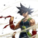 1boy arm_at_side armor backlighting bandana bardock black_eyes black_hair blurry clothes_lift depth_of_field dragon_ball expressionless facial_scar floating_hair holding holding_clothes looking_away male_focus monkey_tail muscle profile red_bandana rock scar scar_on_cheek signature simple_background smoke spiky_hair tail tarutobi twitter_username upper_body white_background wind wind_lift wristband