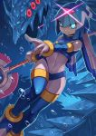 1girl android blue_eyes bodysuit boots breasts bubble commentary_request covered_navel glowing glowing_eyes helmet highres holding holding_weapon ice ice_dragon leviathan_(rockman) polearm red_eyes revision rockman rockman_zero small_breasts smile solo tesshii_(riza4828) thigh-highs thigh_boots underwater weapon