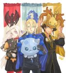 1girl 2boys absurdres artist_name banner bird black_hair blonde_hair cape cat claude_von_regan color_connection deer dimitri_alexandre_bladud eagle edelgard_von_hresvelg fire_emblem fire_emblem:_three_houses gloves highres little_ouji multiple_boys stuffed_animal stuffed_toy white_hair