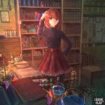 1girl beaker black_legwear black_shirt book book_stack bookshelf bottle brown_hair copyright_name corkboard crystal desk drawer hand_on_hip hourglass indoors kerberos_blade lunamilia medium_hair mortar mushroom official_art open_book pantyhose paper pestle plant potion potted_plant red_eyes red_skirt shirt skirt test_tube weighing_scale