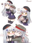 ! 2girls baby_carry bangs beret black_headwear blunt_bangs blush carrying child_carry closed_eyes embarrassed g11_(girls_frontline) girls_frontline green_eyes hair_ornament hat heart highres hk416_(girls_frontline) honyang jacket korean_commentary korean_text long_hair multiple_girls piggyback silver_hair sleeping speech_bubble spoken_exclamation_mark teardrop translation_request twitter_username younger zzz