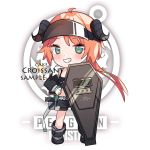1girl arknights bangs black_footwear black_jacket black_shorts blush boots cake_(isiofb) character_name chibi croissant_(arknights) curled_horns eyebrows_visible_through_hair full_body gloves green_eyes grin hand_on_hip horns jacket long_hair long_sleeves looking_at_viewer open_clothes open_jacket orange_hair riot_shield sample short_shorts shorts sidelocks smile solo sparkle visor white_gloves