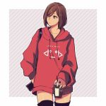1girl bag brown_eyes brown_hair casual collarbone commentary cowboy_shot cup disposable_cup drawstring drinking_straw english_commentary expressionless holding holding_cup hood hoodie looking_to_the_side meiko red_hoodie short_hair shoulder_bag solo striped striped_background tan thigh-highs vocaloid yen-mi zettai_ryouiki