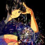 1girl arm_up artist_name bag bare_arms black_background black_hair blue_kimono commentary_request fireworks hand_up handbag happy holding japanese_clothes kimono looking_at_viewer medium_hair obi original sash signature simple_background smile solo umishima_senbon