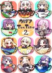 6+girls :d ;) ^_^ abigail_williams_(fate/grand_order) absurdres artoria_pendragon_(all) bangs black_dress black_hair black_jacket black_ribbon blonde_hair blue_bow blue_dress blue_jacket blue_legwear blush bow braid brown_eyes cape capelet chibi closed_eyes closed_mouth commentary_request cover cover_page cup dress eating ereshkigal_(fate/grand_order) eyebrows_visible_through_hair facing_viewer fate/extra fate/extra_ccc fate/grand_order fate_(series) food fur-trimmed_capelet fur-trimmed_jacket fur_trim green_bow green_ribbon grey_jacket hair_between_eyes hair_bow hair_over_one_eye hair_ribbon hamburger head_tilt headpiece highres holding holding_food hood hood_down hooded_jacket huge_filesize in_container in_cup ishtar_(fate/grand_order) jacket jako_(jakoo21) jeanne_d'arc_(alter)_(fate) jeanne_d'arc_(fate) jeanne_d'arc_(fate)_(all) jeanne_d'arc_alter_santa_lily katsushika_hokusai_(fate/grand_order) long_hair long_sleeves looking_at_viewer mash_kyrielight meltryllis multiple_girls necktie one_eye_closed open_clothes open_jacket open_mouth pink_hair puffy_sleeves purple_hair red_bow red_cape red_eyes red_neckwear ribbon saber_alter scathach_(fate)_(all) scathach_skadi_(fate/grand_order) single_braid single_thighhigh sleeves_past_fingers sleeves_past_wrists smile sparkle striped striped_bow striped_ribbon thigh-highs tiara toeless_legwear two_side_up v-shaped_eyebrows wavy_mouth white_capelet white_hair wicked_dragon_witch_ver._shinjuku_1999