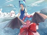 2girls absurdres bangs bat_wings bent_over blue_bow blue_dress blue_eyes blue_hair bow chinese_commentary chinese_text cirno commentary_request dress eyebrows_visible_through_hair from_behind gaanzi hair_bow hat highres ice ice_wings looking_at_another mob_cap multiple_girls neck_ribbon pinafore_dress pink_headwear puffy_short_sleeves puffy_sleeves red_bow red_neckwear red_ribbon remilia_scarlet ribbon shirt short_hair short_sleeves speech_bubble standing touhou translation_request upper_body white_shirt wings