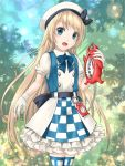1girl blonde_hair blue_eyes blue_neckwear checkered_apron commentary_request compass cosplay enemy_lifebuoy_(kantai_collection) gloves hat jervis_(kantai_collection) kantai_collection looking_at_viewer michishio_(kantai_collection) michishio_(kantai_collection)_(cosplay) outdoors sailor_hat shinkaisei-kan solo thigh-highs two-tone_dress white_gloves white_headwear yuki_shuuka