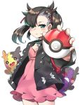 1girl absurdres aqua_eyes asymmetrical_hair bangs black_hair black_jacket blush breasts choker commentary_request dress earrings frown google_(asdek18) green_eyes hair_ornament hair_ribbon highres holding jacket jewelry long_sleeves looking_at_viewer mary_(pokemon) medium_hair pink_dress poke_ball pokemon pokemon_(creature) pokemon_(game) pokemon_swsh red_ribbon ribbon short_twintails silver_trim small_breasts solo twintails