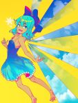 1girl :d bangs bare_arms bare_shoulders barefoot blue_bow blue_dress blue_eyes blue_hair blue_nails blue_sky bow breasts cirno clouds commentary day dress eyebrows_visible_through_hair feet_out_of_frame hair_between_eyes hair_bow highres looking_at_viewer nail_polish open_mouth short_hair simple_background sky small_breasts smile snowflakes solo spaghetti_strap tanned_cirno touhou v-shaped_eyebrows wings yellow_background zounose