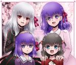 4girls black_hair blue_eyes child cokata corruption dark_persona dark_sakura empty_eyes fate/stay_night fate/zero fate_(series) hair_bobbles hair_ornament hair_ribbon heaven's_feel long_hair looking_at_viewer matou_sakura multiple_girls multiple_persona open_mouth purple_hair ribbon short_hair smile toosaka_sakura turtleneck twintails violet_eyes white_hair younger