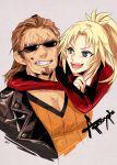 1boy 1girl blonde_hair brown_hair fang fate/apocrypha fate_(series) green_eyes highres hug hug_from_behind jacket mordred_(fate)_(all) nako_(user_tepf8234) scar shishigou_kairi sunglasses sweat