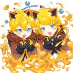 1boy 1girl animal_ears bangs black_gloves blonde_hair blue_eyes blush bow claw_pose collar commentary diamond_(shape) facial_tattoo fang fur-trimmed_jacket fur_trim gloves hair_bow hair_ornament hairclip jacket kagamine_len kagamine_rin lion_ears magical_mirai_(vocaloid) neckerchief open_mouth short_hair siblings skin_fang sparkling_eyes spiky_hair star swept_bangs tattoo twins upper_body v-shaped_eyebrows vocaloid white_bow zimoow