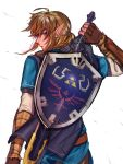 1boy blonde_hair blue_eyes bow drawing_sword earrings elf fingerless_gloves gloves highres hylian hylian_shield jewelry link looking_back male_focus master_sword nintendo nintendo_ead pointy_ears ponytail shield shuzukipai solo sword the_legend_of_zelda the_legend_of_zelda:_breath_of_the_wild tunic weapon white_background wind zelda_no_densetsu