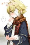1boy bandage_over_one_eye bandages blonde_hair blush breath coat cold half-closed_eyes hand_on_own_chin mizuhoshi_taichi oliver_(vocaloid) outstretched_hand parted_lips plaid plaid_scarf reaching sailor_collar scarf scarf_grab solo vocaloid yellow_eyes