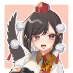 1girl :d alternate_eye_color bangs black_hair black_wings blush border camera commentary_request eyebrows_visible_through_hair feathered_wings hat leaf-pattern_stripe leaf_print looking_at_viewer mokokiyo_(asaddr) open_mouth outline outside_border pink_background pointy_ears pom_pom_(clothes) puffy_short_sleeves puffy_sleeves shameimaru_aya shirt short_hair short_sleeves sidelocks simple_background single_wing smile solo swept_bangs tassel tokin_hat touhou upper_body violet_eyes white_border white_outline white_shirt wings