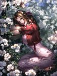1girl absurdres aerith_gainsborough blurry blurry_background bow bracelet breasts brown_hair cropped_jacket dress final_fantasy final_fantasy_vii final_fantasy_vii_remake flower green_eyes hair_bow head_rest highres jacket jewelry large_breasts liang_xing looking_at_viewer parted_lips petals pink_dress red_jacket seiza shade sitting solo