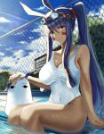 1girl animal_ears bangs bare_shoulders blue_sky blush breasts collarbone dark_skin facial_mark fate/grand_order fate_(series) fence goggles goggles_on_head hair_tubes highres jackal_ears large_breasts long_hair looking_at_viewer low-tied_long_hair medjed nikek96 nitocris_(fate/grand_order) one-piece_swimsuit ponytail pool purple_hair sidelocks sitting sky sunlight swimsuit thighs very_long_hair violet_eyes white_swimsuit