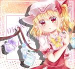 1girl :o argyle argyle_background blonde_hair bottle bow bowtie cosmetics dot_nose earrings english_text eyebrows_visible_through_hair flandre_scarlet hair_between_eyes hat highres jar jewelry juliet_sleeves long_sleeves looking_at_viewer makeup mimi89819132 mob_cap multicolored multicolored_background nail_polish perfume_(cosmetics) perfume_bottle pointy_ears polka_dot polka_dot_background puffy_short_sleeves puffy_sleeves red_eyes red_nails short_hair short_sleeves side_ponytail sleeve_ribbon touhou wings yellow_neckwear