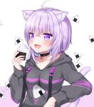 1girl :d ahoge animal_ear_fluff animal_ears breasts cat_ears cat_girl cat_tail collar collarbone drawstring fang food holding holding_food hololive hood hood_down hoodie long_sleeves looking_at_viewer motion_lines naomi_(fantasia) nekomata_okayu onigiri open_mouth purple_hair short_hair small_breasts smile solo tail upper_body violet_eyes virtual_youtuber white_background