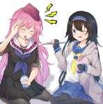 2girls artist_request black_hair blue_eyes brain_freeze closed_eyes commentary_request cup disposable_cup feeding fingerless_gloves girls_frontline gloves hat highres multiple_girls ntw-20_(girls_frontline) one_eye_closed pantyhose pink_hair school_uniform serafuku shaved_ice spoon super_sass_(girls_frontline) syrup