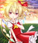 1girl arm_up blonde_hair blurry blush clouds commentary_request contrapposto cravat depth_of_field eyebrows_visible_through_hair finger_to_mouth fingernails flandre_scarlet gradient_sky grass hair_between_eyes hair_blowing hair_ribbon highres looking_at_viewer no_hat no_headwear nyanyanoruru outdoors petticoat puffy_short_sleeves puffy_sleeves red_eyes red_nails red_ribbon red_skirt red_vest ribbon sharp_fingernails shirt short_sleeves side_ponytail skirt sky smile solo standing sunset touhou vest white_shirt wind wind_lift wrist_cuffs yellow_neckwear
