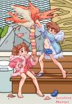 1boy 1girl asphyxiation blue_coat blue_swimsuit brown_eyes brown_hair choking coat condor ice_climber ice_cream_cone khiuly pink_coat pink_swimsuit sandals swimsuit swimsuit_under_clothes trash_can