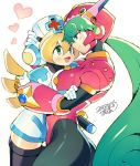 2girls android blonde_hair blue_eyes blush breasts capcom cinnamon closed_mouth dated eyebrows_visible_through_hair green_eyes green_hair hand_on_another's_head hat headgear heart helmet hug iroyopon long_hair looking_at_another marino multiple_girls nurse nurse_cap open_mouth rockman rockman_x rockman_x_command_mission signature smile white_background yuri