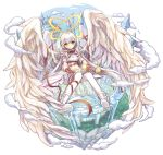 1girl angel angel_wings blush boots castle clouds cloudy_sky commentary_request day double_halo eyebrows_visible_through_hair feathered_wings floating floating_island full_body gloves halo long_hair looking_at_viewer merc_storia michellia neck_ribbon orb pants pillar pure_(cookieby) red_gloves red_ribbon ribbon sky tower very_long_hair water white_hair white_pants white_wings wing_ribbon wings yellow_eyes