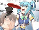 1boy 1girl aqua_(konosuba) blue_eyes blue_hair bow breasts brown_hair cat chomusuke closed_mouth commentary_request detached_sleeves frisbee gem hair_between_eyes hair_ornament hair_rings highres kono_subarashii_sekai_ni_shukufuku_wo! long_hair muchi_maro open_mouth satou_kazuma teeth thigh-highs