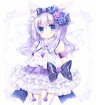 1girl :o animal_ears bangs bare_shoulders black_bow blue_eyes blue_flower blue_rose blush bow cat_ears commentary_request cowboy_shot dress eyebrows_visible_through_hair flower garter_straps hair_between_eyes hair_bow hair_flower hair_ornament long_hair original parted_lips purple_flower purple_hair purple_rose rose shikito sleeveless sleeveless_dress solo thigh-highs very_long_hair white_dress white_legwear