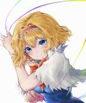 1girl alice_margatroid bangs blonde_hair blue_dress blue_eyes blush bow bowtie breasts capelet colored_eyelashes commentary_request dress eyebrows_visible_through_hair hair_between_eyes hair_intakes hairband hand_up lolita_hairband looking_at_viewer medium_breasts orange_bow orange_hairband orange_neckwear puppet_rings puppet_strings short_hair simple_background smile solo touhou upper_body white_background white_capelet yuma_(yuuma_pants)