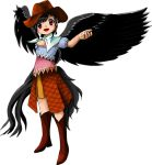 1girl bare_shoulders black_hair black_wings boots brown_eyes cowboy_boots cowboy_hat dress feathered_wings flannel hat kurokoma_saki medium_hair official_art oota_jun'ya open_hand scarf smile solo tagme tail_feathers touhou transparent_background wily_beast_and_weakest_creature wings