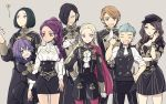 ahoge bernadetta_von_varley black_hair blonde_hair blue_eyes blue_hair boots braid breasts cape caspar_von_bergliez cravat dark_skin dorothea_arnault edelgard_von_hresvelg epaulettes facial_mark fire_emblem fire_emblem:_three_houses gloves green_hair grey_eyes hair_ornament hair_over_one_eye hair_ribbon hood hubert_von_vestra ktnamgmfe linhardt_von_hevring long_hair long_sleeves looking_at_viewer low_ponytail medium_breasts multiple_boys multiple_girls open_mouth pantyhose petra_mcnairy purple_hair red_cape ribbon short_hair side_ponytail simple_background single_braid skirt smile uniform upper_body wavy_mouth