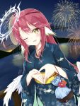 1girl amatsuji angel_wings bag blush breasts commentary_request cross feathered_wings fireworks gradient_hair halo japanese_clothes jibril_(no_game_no_life) kimono large_breasts long_hair looking_at_viewer low_wings magic_circle mask mask_on_head multicolored_hair no_game_no_life obi one_eye_closed open_mouth pink_hair sash smile solo summer_festival symbol-shaped_pupils very_long_hair white_wings wing_ears wings yellow_eyes yukata