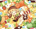 1girl :d ^_^ aikei_ake animal apron bangs bird blonde_hair blush boots broccoli brown_apron brown_footwear brown_headwear carrot chibi closed_eyes commentary_request dog dress eyebrows_visible_through_hair food hat long_sleeves open_mouth original rabbit smile solo star tomato turtleneck vegetable yellow_dress