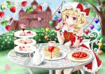 1girl arm_up blonde_hair blue_sky blurry cake chair commentary_request cookie cream_puff cup day depth_of_field doughnut elbows_on_table expressionless eyebrows_visible_through_hair feet_out_of_frame flandre_scarlet flower food food_themed_hair_ornament fruit grass hair_flower hair_ornament hat hat_ribbon head_tilt hedge_(plant) holding holding_food holding_fruit ice_cream looking_at_viewer macaron mob_cap neck_ribbon nyanyanoruru outdoors pancake parfait parted_lips petals petticoat red_eyes red_skirt red_vest ribbon sash saucer scarlet_devil_mansion shirt short_hair side_ponytail sitting skirt sky slice_of_cake solo strawberry strawberry_blossoms strawberry_hair_ornament sundae table tart_(food) teacup teapot tiered_tray touhou tree vest white_headwear white_shirt wrist_cuffs x_hair_ornament yellow_neckwear