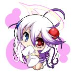 1girl bangs blue_eyes blush bombergirl chibi commentary_request demon_tail eyebrows_visible_through_hair hair_between_eyes hair_ornament halo heterochromia holding holding_pillow long_hair looking_at_viewer papuru_(bombergirl) peta_(taleslove596) pillow purple_hair red_eyes simple_background solo swept_bangs tail tearing_up very_long_hair