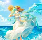1girl aqua_eyes aqua_hair blue_sky candy1521 clouds cloudy_sky commentary day dress flower frilled_dress frills hand_in_hair hand_up hat hat_flower hatsune_miku holding_dress large_hat long_hair looking_to_the_side neck_ribbon ocean outdoors ribbon sky solo straw_hat sun sun_hat sunflower twintails very_long_hair vocaloid waves white_dress wind