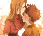 1boy 1girl blush brown_eyes brown_hair closed_mouth commentary_request digimon digimon_adventure gloves izumi_koushirou kiss long_hair mimxxpk shirt tachikawa_mimi