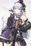 1girl assault_rifle bangs biting black_jacket black_shorts blunt_bangs blush breasts character_name contrapposto cowboy_shot cross_hair_ornament dress expressionless eyebrows_visible_through_hair facial_mark girls_frontline glove_biting gloves green_eyes gun h&k_hk416 hair_ornament hat heckler_&_koch highres hk416_(girls_frontline) holding holding_gun holding_weapon jacket lee_seok_ho long_hair long_sleeves looking_at_viewer medium_breasts military military_uniform mini_hat mod3_(girls_frontline) name_tag open_clothes open_jacket purple_shirt rifle shirt short_shorts shorts sidelocks silver_hair sleeveless sleeveless_dress solo standing teardrop thighs two-tone_background uniform very_long_hair weapon white_gloves